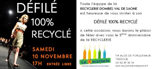Defile 100 recycle Recyclerie Trevoux 10 nov 2018 carton invitation